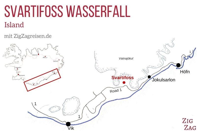 Karte Wasserfall Svartifoss Island